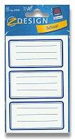Samolepicí štítky na sešity - Modré rámečky