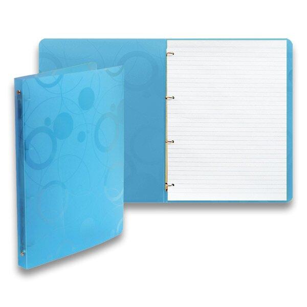 4 - kroužkový karis blok PP Karton Neo Colori modrý