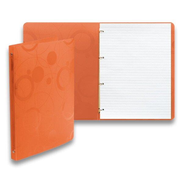 4 - kroužkový karis blok PP Karton Neo Colori oranžový