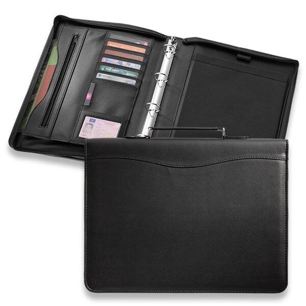 Koženkové portfolio Ebony se zipem a uchem 260 × 340 × 40 mm, černé