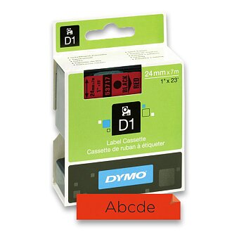Obrázek produktu Polyesterová páska Dymo D1 - 24 mm x 7 m, černý tisk / červená páska