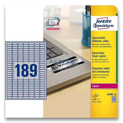 Obrázek produktu Avery Zweckform - stříbrné PET etikety - 25,4×10,0 mm, 3780 etiket
