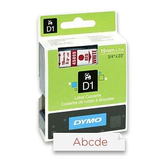 Obrázek produktu Polyesterová páska Dymo D1 - 19 mm x 7 m, červený tisk / bílá páska