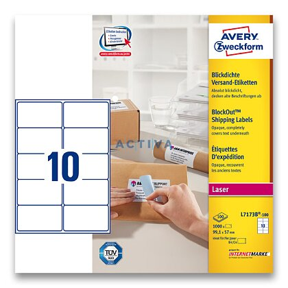 Obrázek produktu Avery Zweckform - zásilkové 100% krycí etikety - 99,1 x 57 mm, 1000 etiket