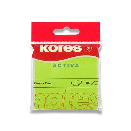 Obrázok produktu Kores - samolepiaci bloček - 75 x 75 mm, 100 l., neón zelený