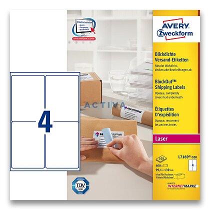 Obrázek produktu Avery Zweckform - zásilkové 100% krycí etikety - 99,1 x 139 mm, 400 etiket