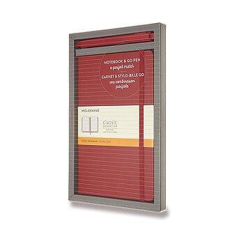 Obrázek produktu Zápisník Moleskine - tvrdé desky - L, dárková sada s kuličkovou tužkou Go Pen, červená