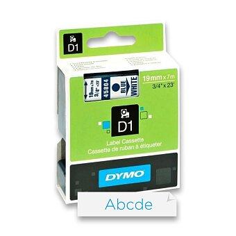 Obrázek produktu Polyesterová páska Dymo D1 - 19 mm x 7 m, modrý tisk / bílá páska