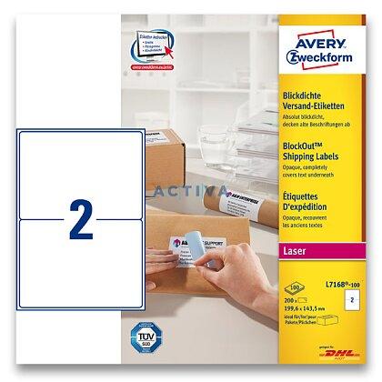 Obrázek produktu Avery Zweckform - zásilkové 100% krycí etikety - 199,6 x 143,5 mm, 200 etiket