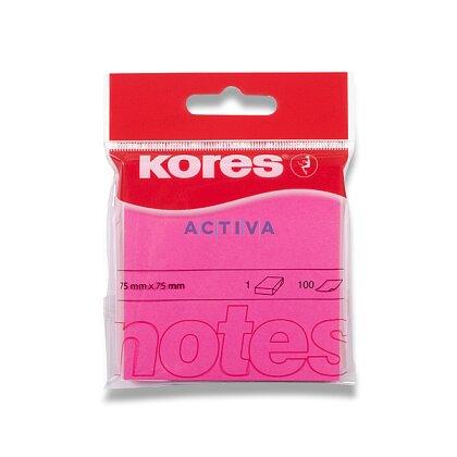 Obrázek produktu Kores - samolepicí bloček - 75x75 mm, 100 l., neon růžový