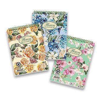 Obrázek produktu Kroužkový blok Pigna Nature Flowers - A5, čtverečkovaný, 50 listů, mix motivů