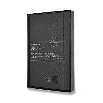 Obrázek produktu Zápisník Moleskine kožený  - tvrdé desky - L, linkovaný, černý