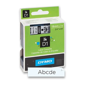 Obrázek produktu Polyesterová páska Dymo D1 - 19 mm x 7 m, černý tisk / transparentní páska