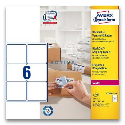 Obrázek produktu Avery Zweckform - zásilkové 100% krycí etikety - 99,1 x 93,1 mm, 600 etiket