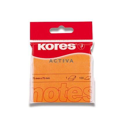 Obrázok produktu Kores - samolepiaci bloček - 75 x 75 mm, 100 l., neón oranžový