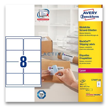 Obrázek produktu Avery Zweckform - zásilkové 100% krycí etikety - 99,1 x 67,7 mm, 800 etiket