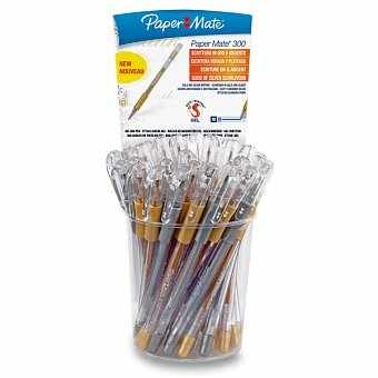 Obrázek produktu Kuličková tužka PaperMate 300 Gel (zlatá,stříbrná) - stojánek