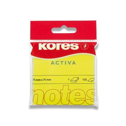 Obrázok produktu Kores - samolepiaci bloček - 75 x 75 mm, 100 l., neón žltý