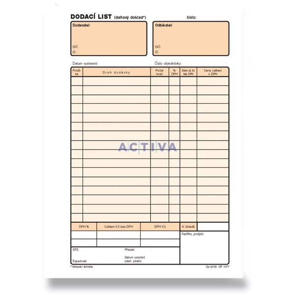 Optys Bill Of Delivery A5 Activa