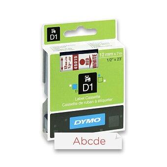 Obrázek produktu Polyesterová páska Dymo D1 - 12 mm x 7 m, červený tisk / bílá páska