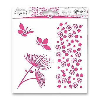 Obrázek produktu Pochoir Textile - Kytičky - 15 x 15 cm