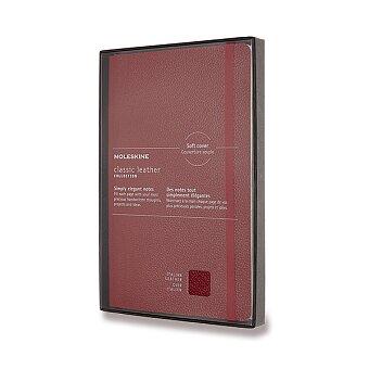 Obrázek produktu Zápisník Moleskine kožený  - tvrdé desky - L, linkovaný, červený