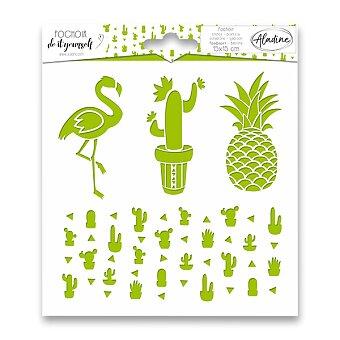 Obrázek produktu Pochoir Textile -  Kaktusy - 15 x 15 cm