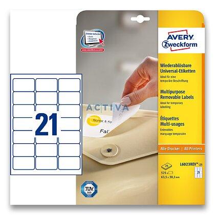 Obrázek produktu Avery Zweckform - nepermanentní etikety - 63,5×38,1 mm, 630 etiket
