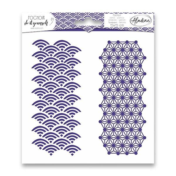 Pochoir Textile - Japonská geometrie 15 x 15 cm