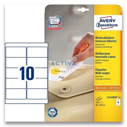 Obrázek produktu Avery Zweckform - nepermanentní etikety - 96,0×50,8 mm, 300 etiket