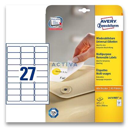 Obrázek produktu Avery Zweckform - nepermanentní etikety - 63,5×29,6 mm, 810 etiket