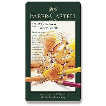 Obrázek produktu Pastelky Faber-Castell Polychromos - plechová krabička, 12 barev