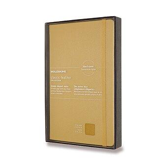Obrázek produktu Zápisník Moleskine kožený - tvrdé desky - L, linkovaný, žlutý
