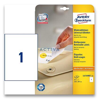 Obrázek produktu Avery Zweckform - nepermanentní etikety - 210,0×297,0 mm, 30 etiket
