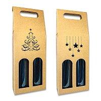 Dárková krabice na 2 lahve s vánočním motivem