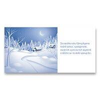 Vánoční přání modrá krajina na kartě PF 2018