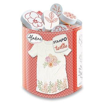 Obrázek produktu Razítka Aladine Stampo Textile - Květiny a věnečky, 19 ks