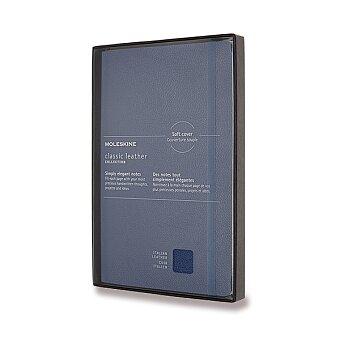 Obrázek produktu Zápisník Moleskine kožený - měkké desky - L, linkovaný, modrý
