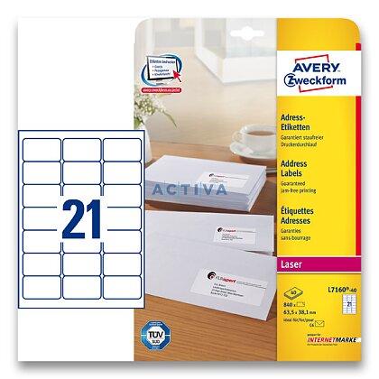 Obrázek produktu Avery Zweckform - adresní etikety - 63,5×38,1 mm, 840 etiket, laser
