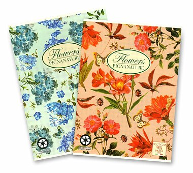 Obrázek produktu Školní sešit Pigna Nature Flowers - A5, linkovaný, 40 listů, mix motivů