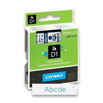 Obrázek produktu Polyesterová páska Dymo D1 - 9 mm x 7 m, modrý tisk / bílá páska