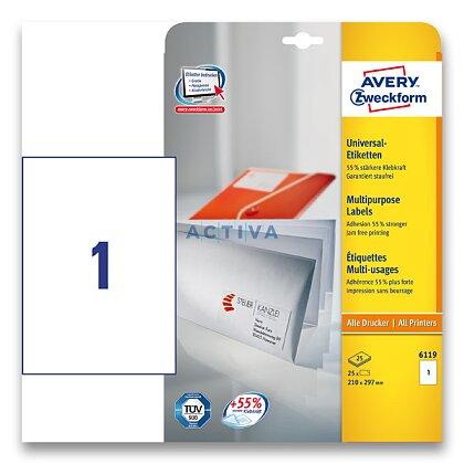 Obrázek produktu Avery Zweckform - univerzální etikety - 210,0×297,0 mm, 30 etiket