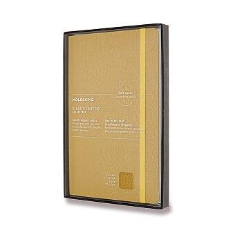 Obrázek produktu Zápisník Moleskine kožený - měkké desky - L, linkovaný, žlutý