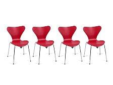 Set 4 ks židlí Fritz Hansen Series 7 lak.jasan červená
