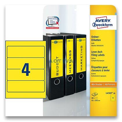Obrázek produktu Avery Zweckform - etikety na pořadače - 192×61 mm, 80 etiket, žluté