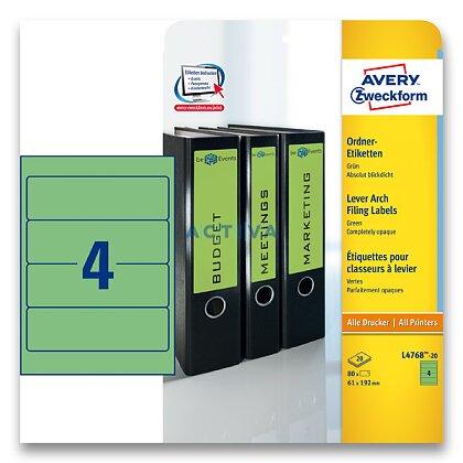 Obrázek produktu Avery Zweckform - etikety na pořadače - 192×61 mm, 80 etiket, zelené