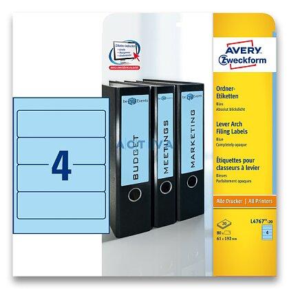 Obrázek produktu Avery Zweckform - etikety na pořadače - 192×61 mm, 80 etiket, modré