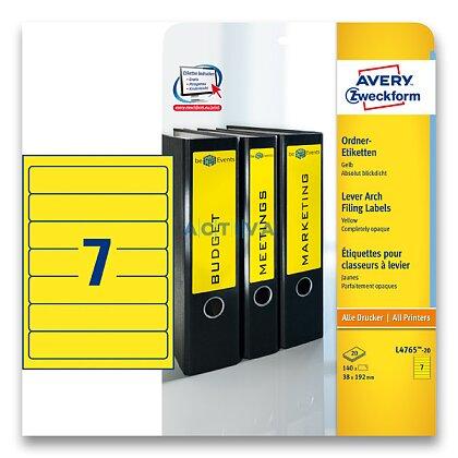 Obrázek produktu Avery Zweckform - etikety na pořadače - 192×38 mm, 140 etiket, žlutá