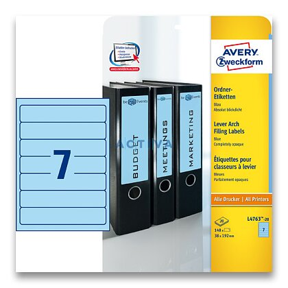 Obrázok produktu Avery Zweckform - etikety na šanóny - 192×38 mm, 140 etikiet, modré