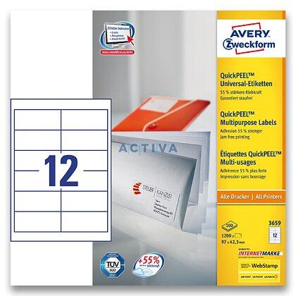 Obrázek produktu Avery Zweckform - univerzální etikety - 97,0 x 42,3 mm, 1200 etiket